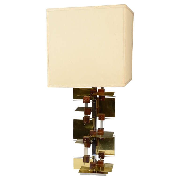 mid century brass and wood table lamp by gaetano sciolari at 1stdibs. Black Bedroom Furniture Sets. Home Design Ideas
