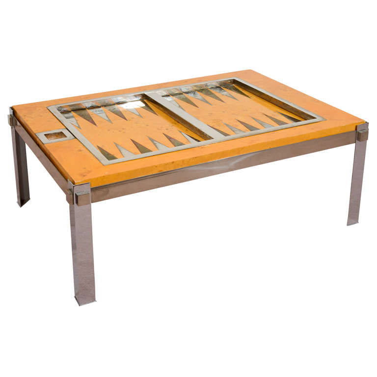 Merveilleux Midcentury Backgammon Table By Tommaso Barbi For Sale
