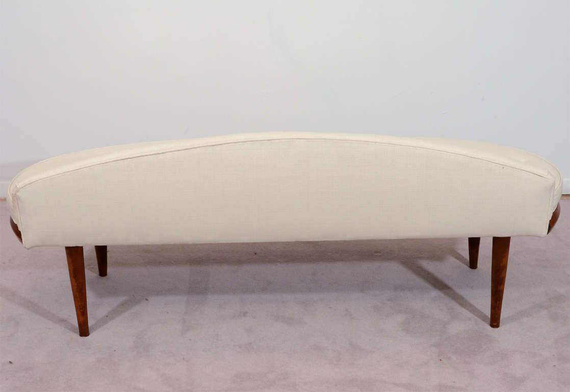 Petite Mid Century Bench W Tufted Cushions Newly Reupholstered At 1stdibs