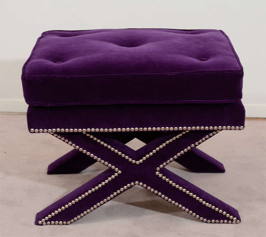 Pair Of Mid Century X Base Stools With Purple Velvet