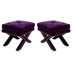 Pair of Mid Century X-Base Stools with Purple Velvet Upholstery