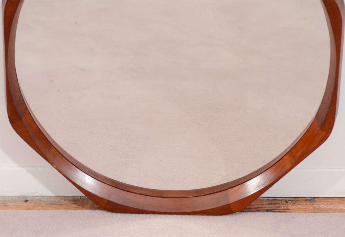 Mid Century Danish Modern Round Mirror In Octagonal Frame