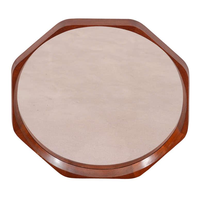 Mid Century Danish Modern Round Mirror in Octagonal Frame 1