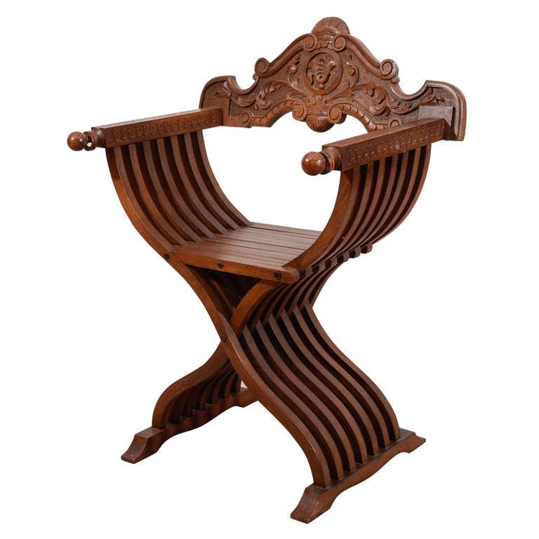 Mid Century Italian Savonarola X Form Carved Wooden Chair