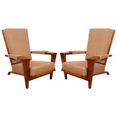 Pair of Mid Century Lounge Chairs with Angled Walnut Frames