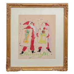 Original Marcel Vertes Watercolor for Schiaparelli Christmas Ad