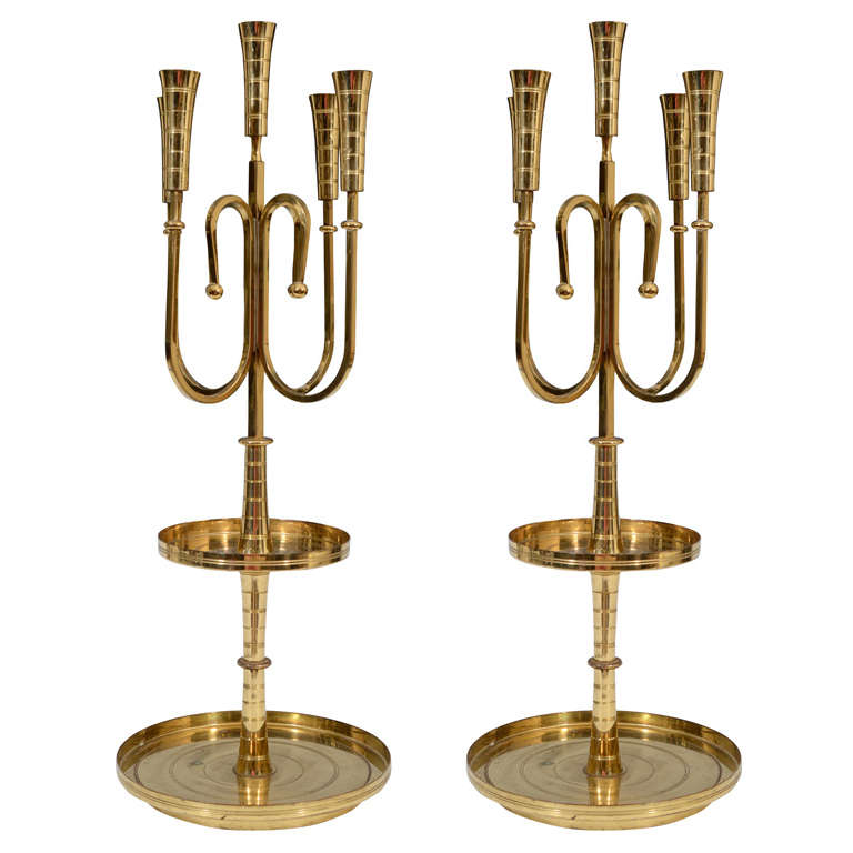 Pair of Mid Century Tommi Parzinger Dorlyn Brass Candelabra