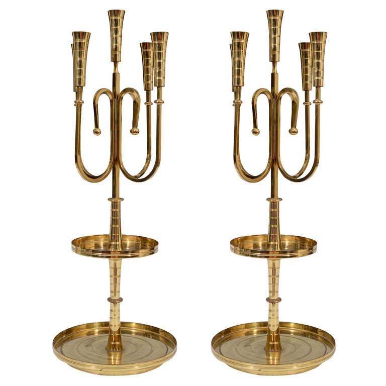 Pair of Mid Century Tommi Parzinger Dorlyn Brass Candelabra