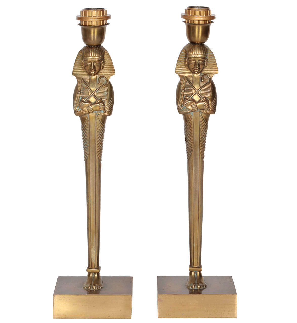 Pair of Bronze Lamps by Willy Daro