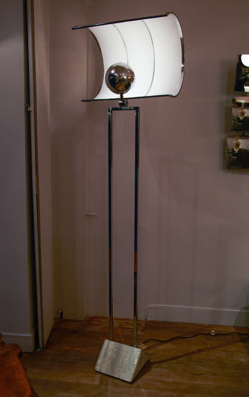 Unusual Floor Lamp With Sail Shaped Shade For Sale At
