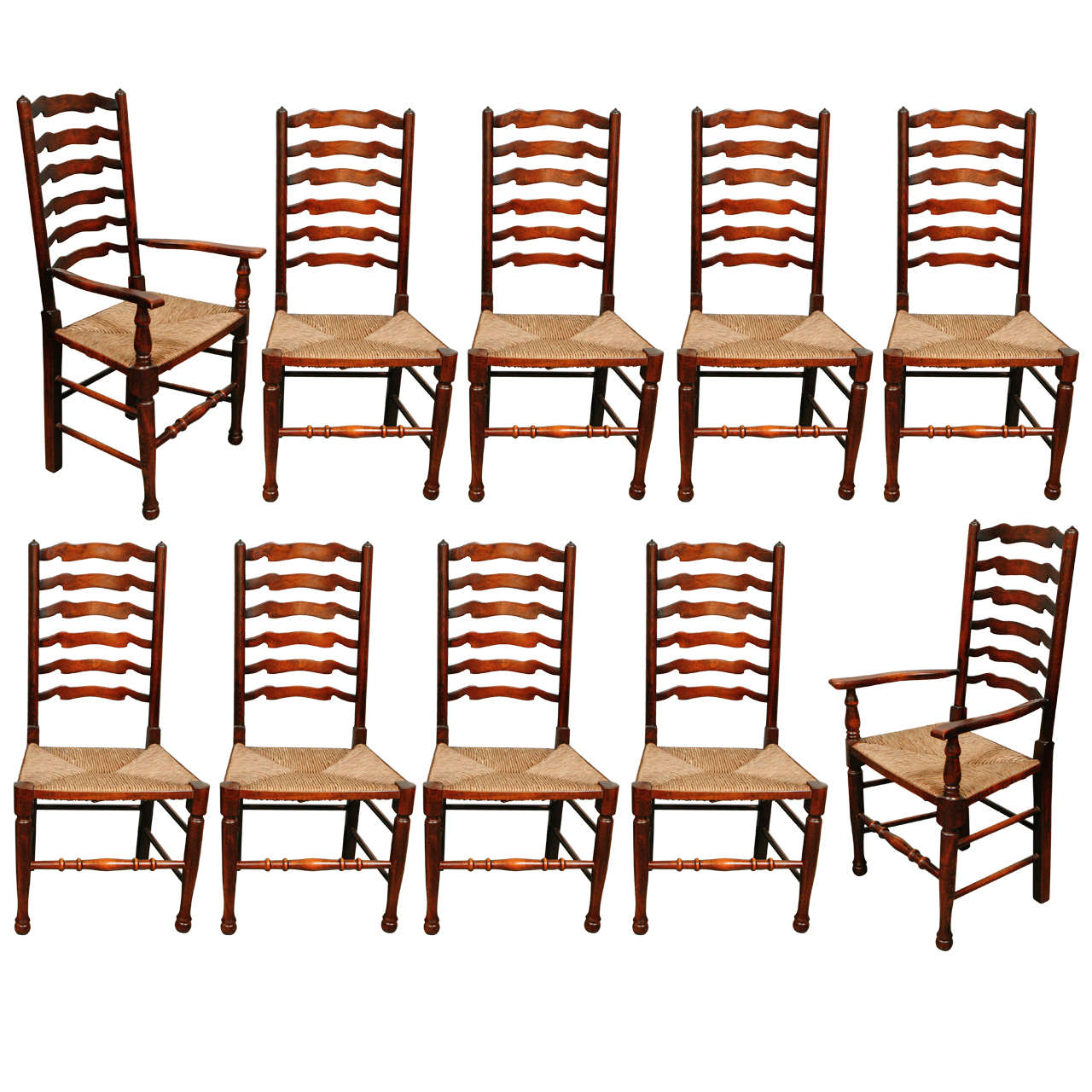 Set of ten ladder back dining chairs at 1stdibs - Ladder back dining room chairs ...