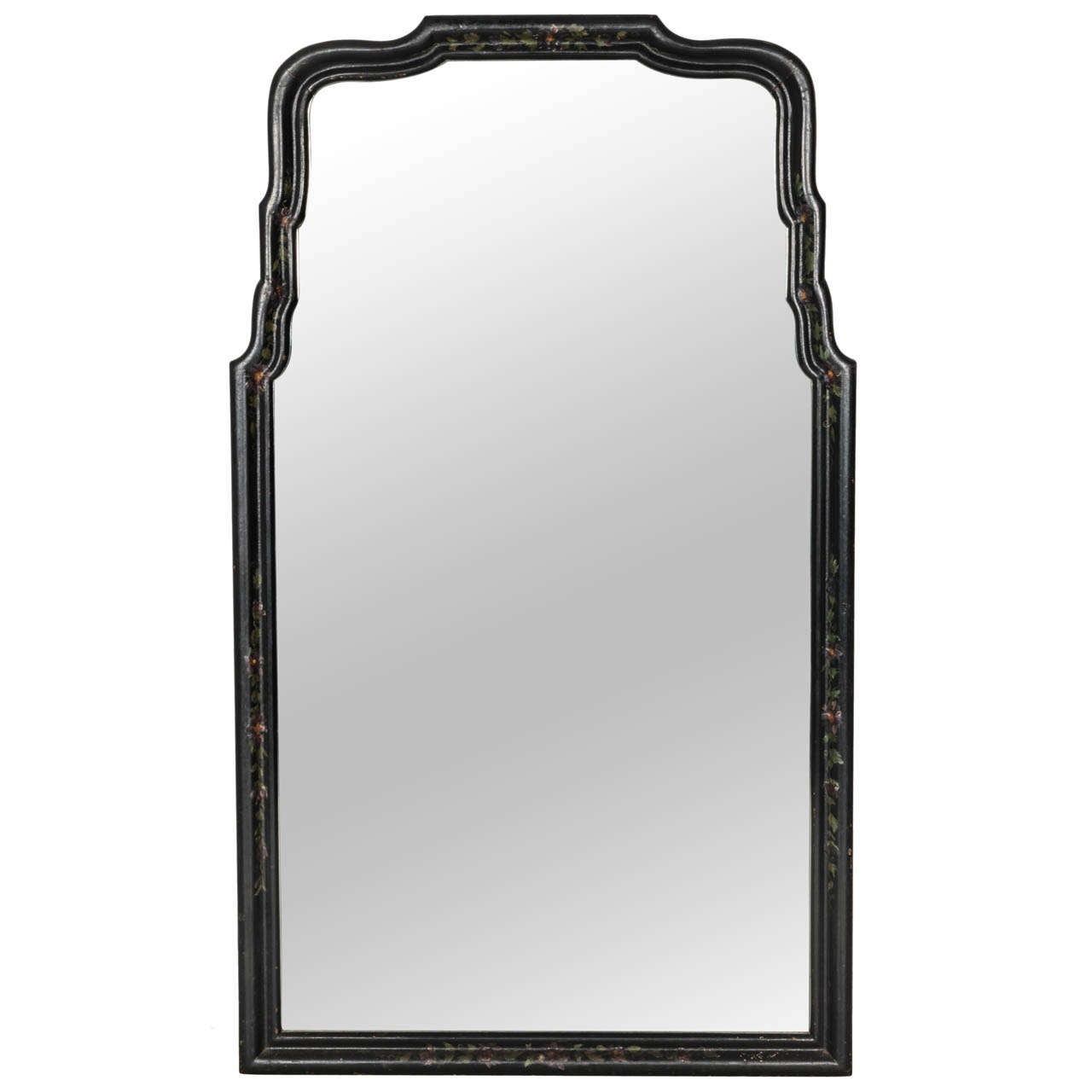 Vintage queen anne style chinoiserie ebony mirror for Vintage style mirrors