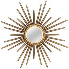 Small Gilt Sunburst Mirror by Valauris (Signed)