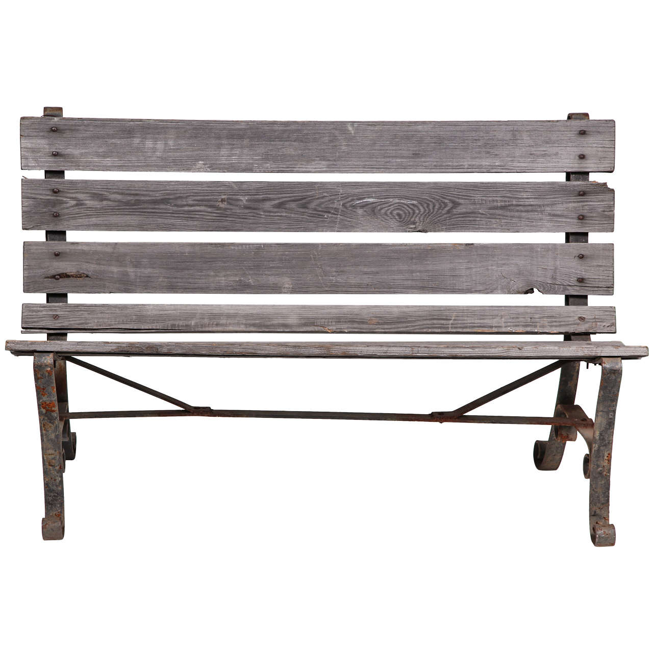Modern Park Benches Part - 42: Old Wrought Iron Two Seater Park Bench 1