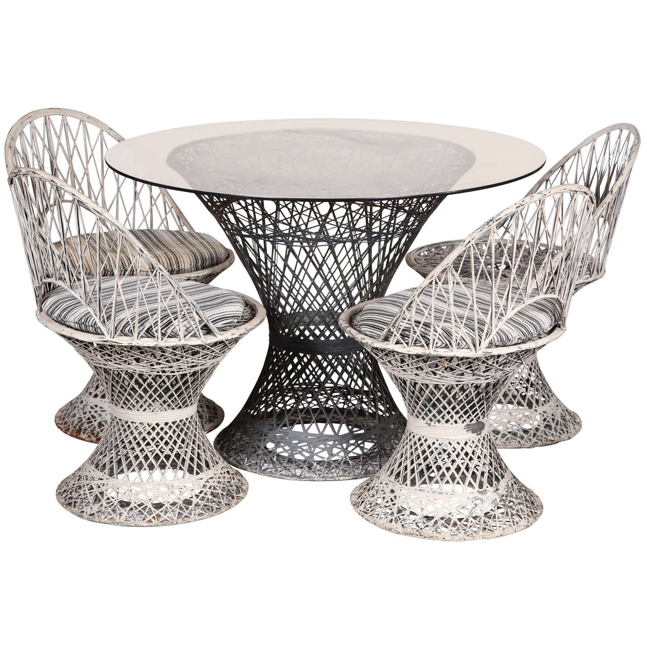 Metal Mesh Wicker Garden Set For Sale At 1stdibs