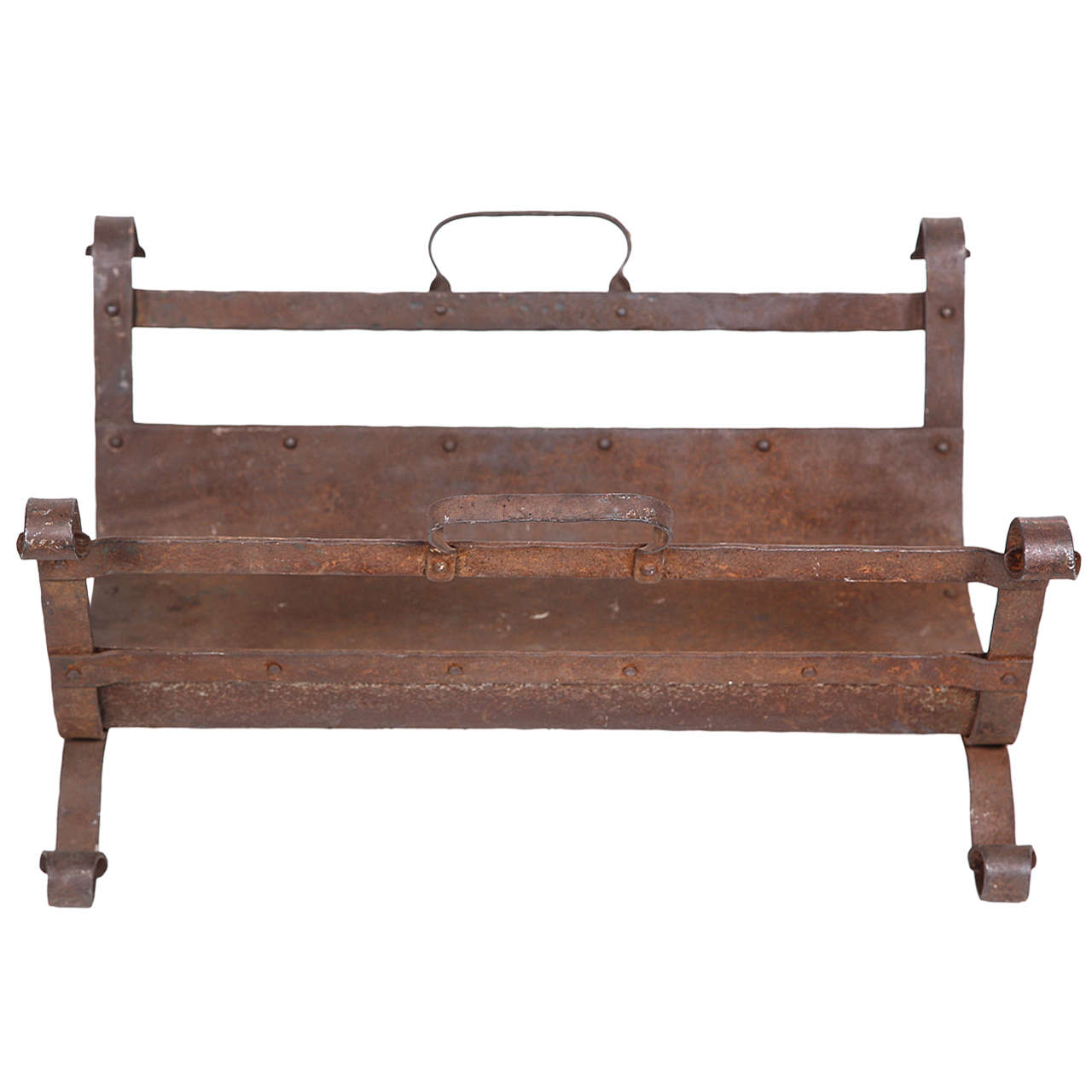 Craftsman Wrought Iron Log Holder with Handles