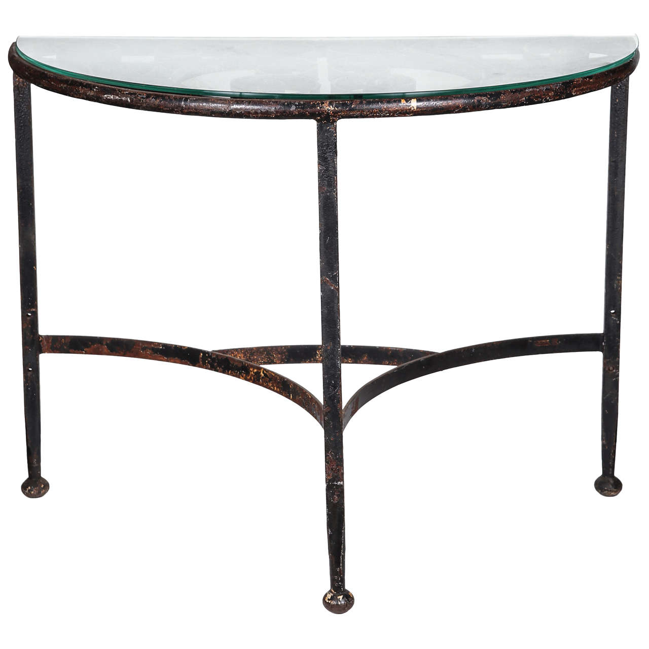 Glass Topped Demi Lune Wrought Iron Console 1