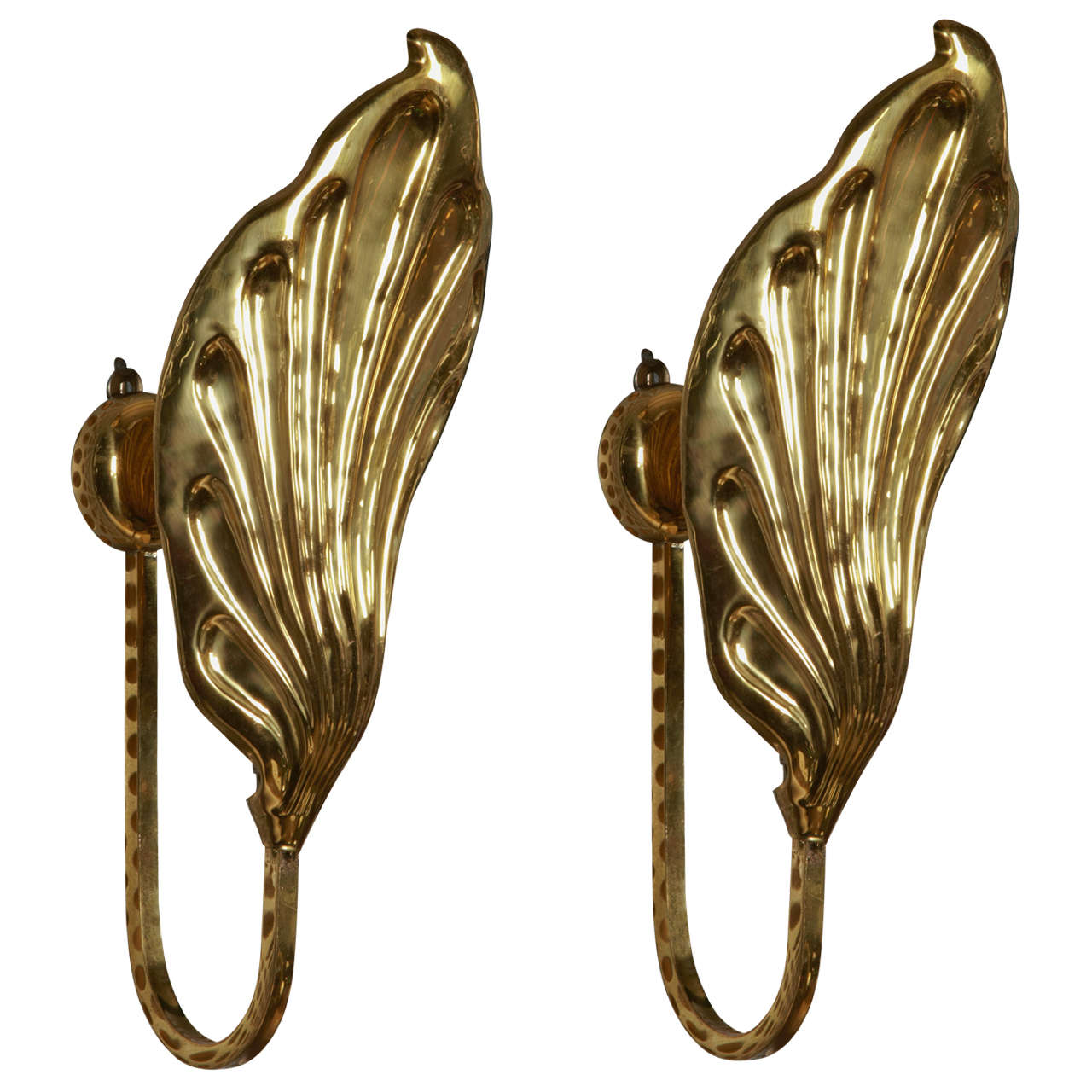 Pair of Leafs Sconces by Tomasso Barbi For Sale