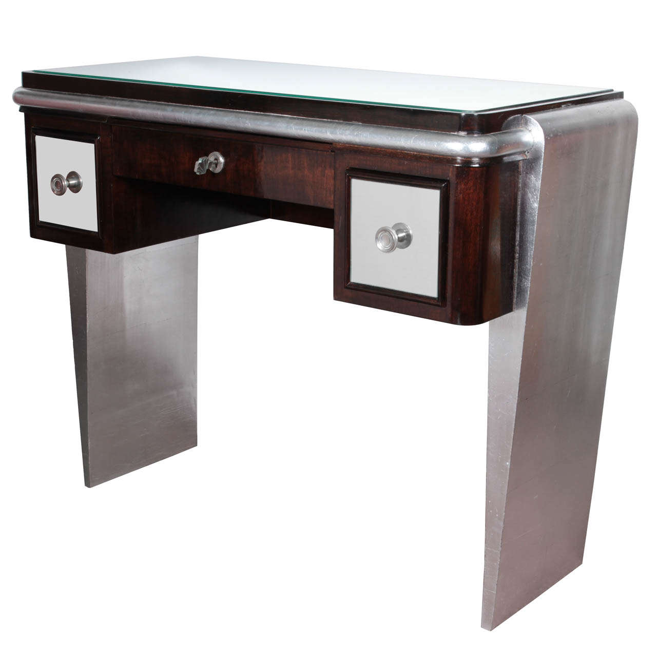 French Desk/vanity In Wood, Silver Leaf U0026 Mirror Attrib To Maxime Old For
