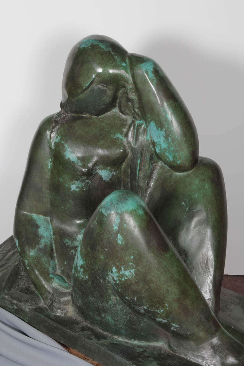 Important bronze sculpture signed: Csaky- AC (Atelier Csaky)- Foundry mark Blanchet -numbered 3/8 It is included in Felix Marcilhac's catalogue raisonee of the artist pg. 139 Plaster conceived in 1929, but never made as a bronze until later when it