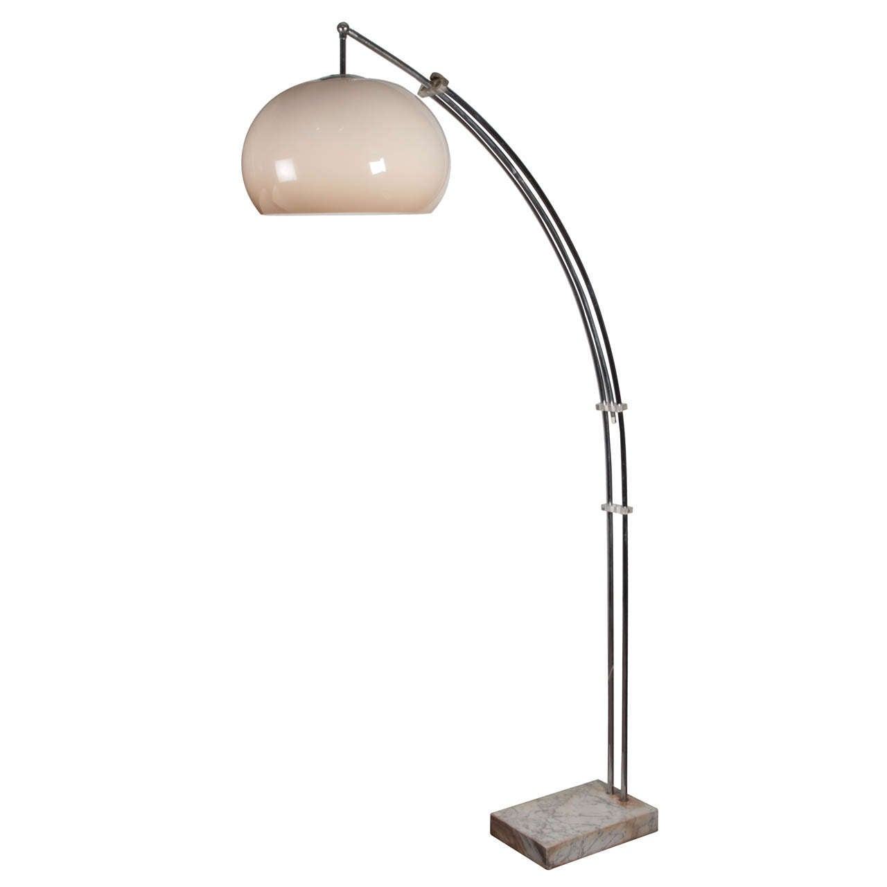 adjustable mid century arc floor lamp with original shade. Black Bedroom Furniture Sets. Home Design Ideas