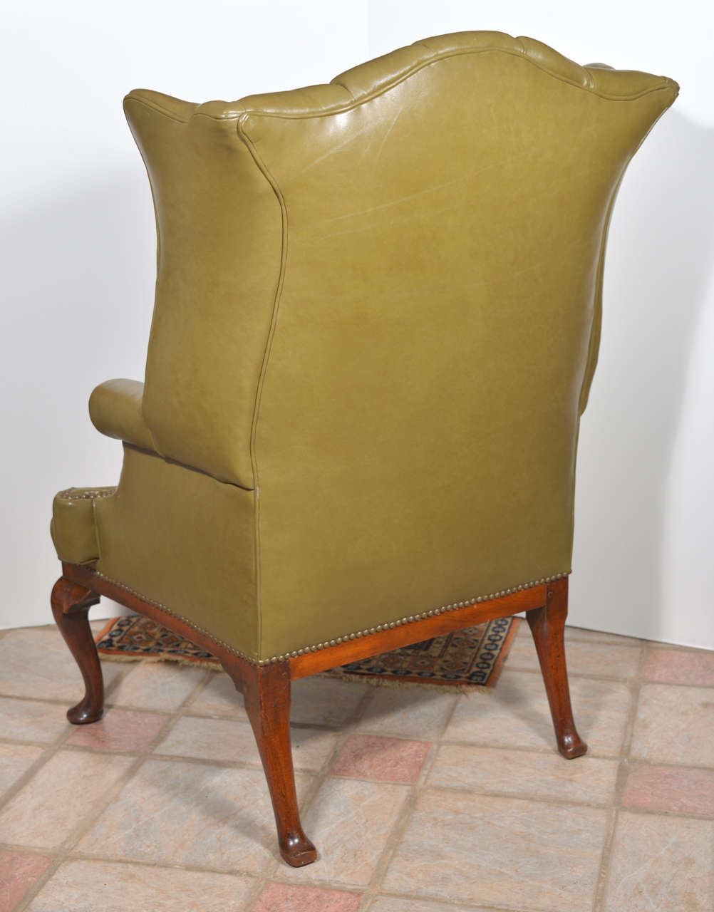 18th Century English Tufted Leather Queen Anne Wing Chair