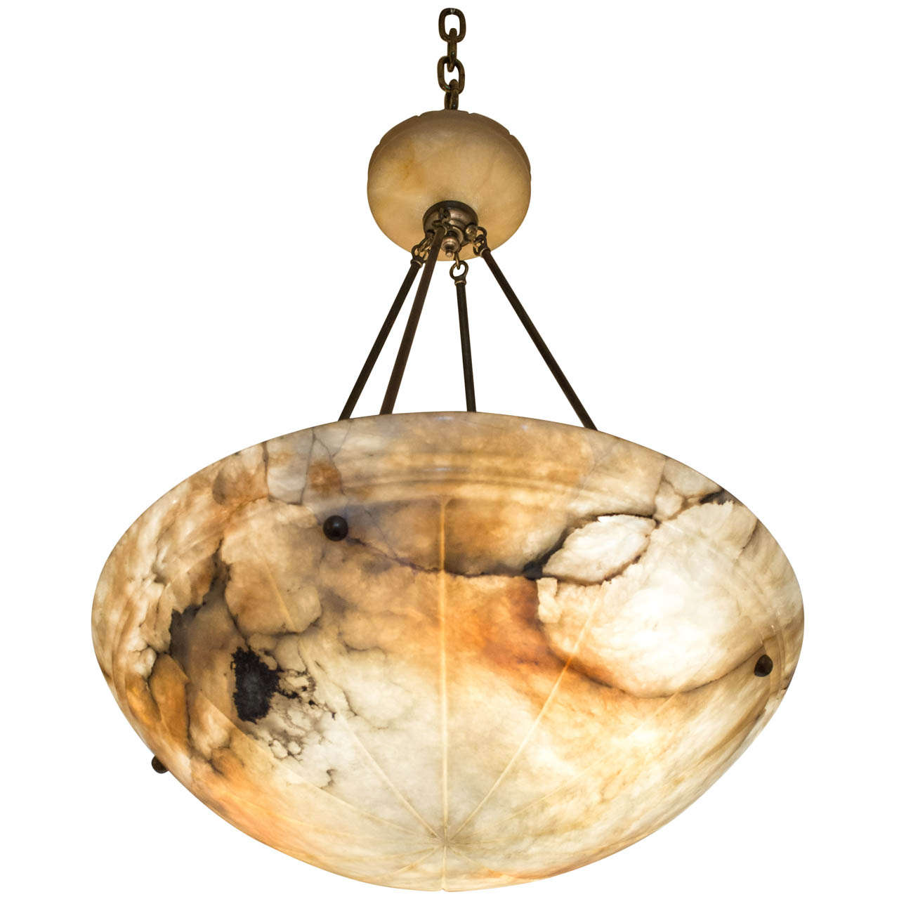 Super Luscious Large Alabaster Bowl Pendant Chandelier For