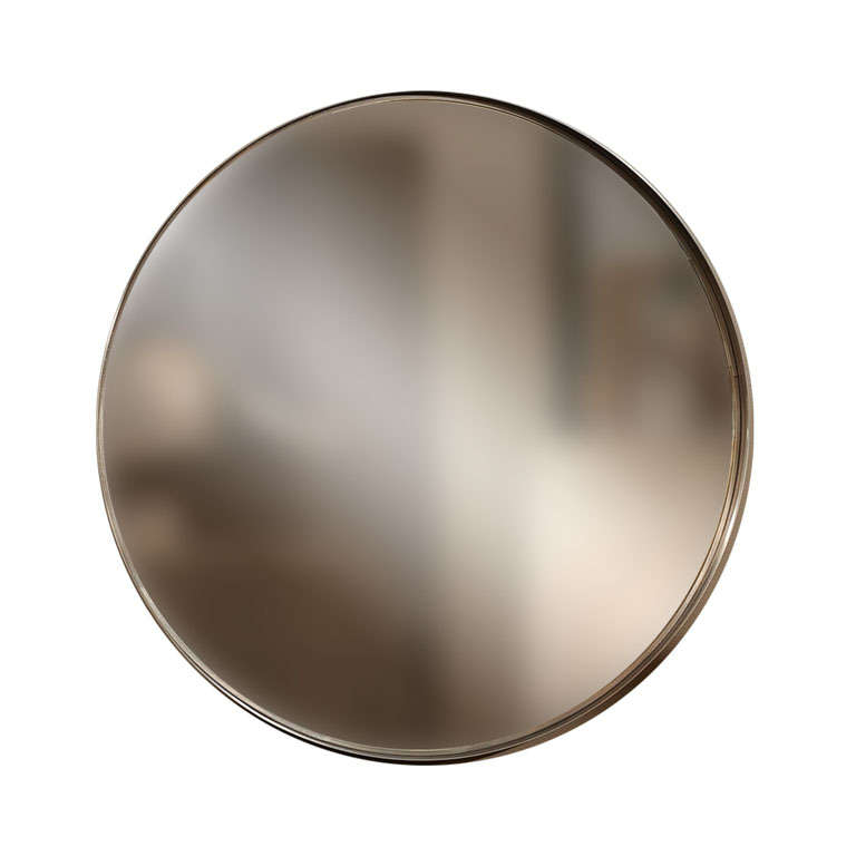 minimalist round mirror in stainless steel at 1stdibs