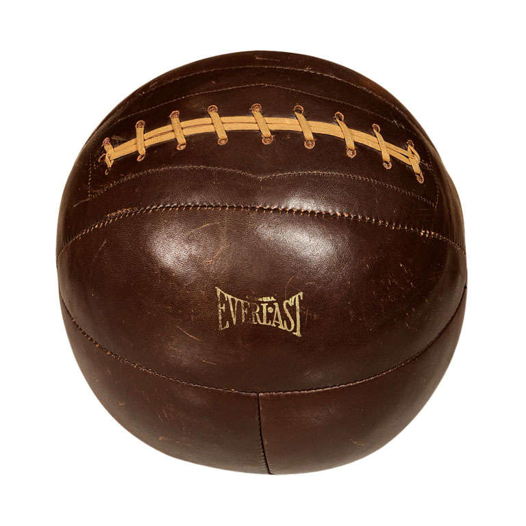 1940s Brown Leather Medicine Ball By Everlast At 1stdibs