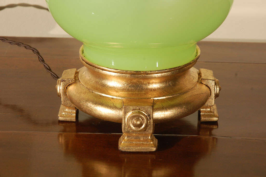 French Lime Green Opaline Lamp For Sale