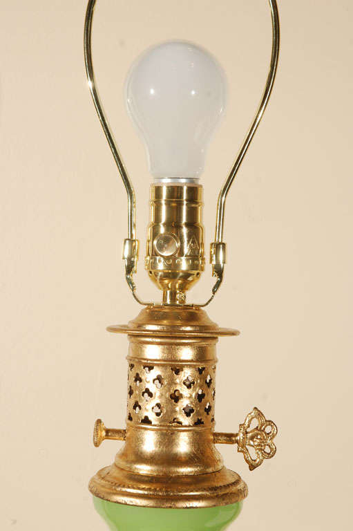 20th Century Lime Green Opaline Lamp For Sale