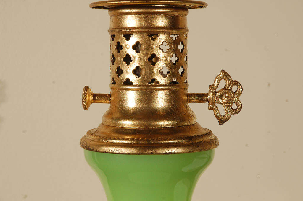 Lime Green Opaline Lamp For Sale 1