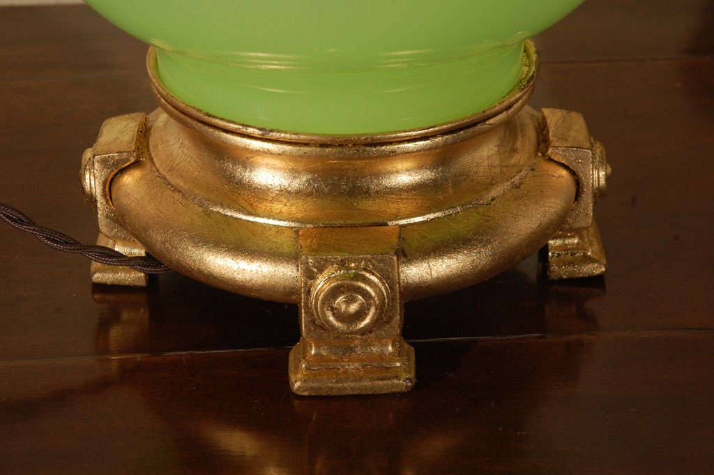Lime Green Opaline Lamp For Sale 2