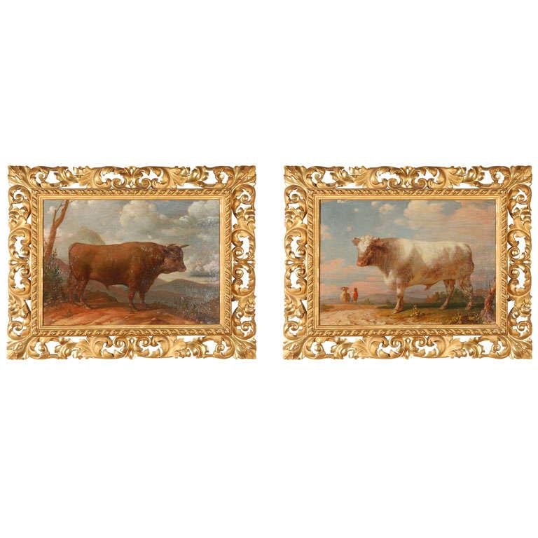 18th c., Italian Bull Paintings