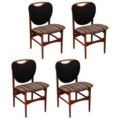 Teak Upholstered Dining Chairs from Denmark, Set of Four