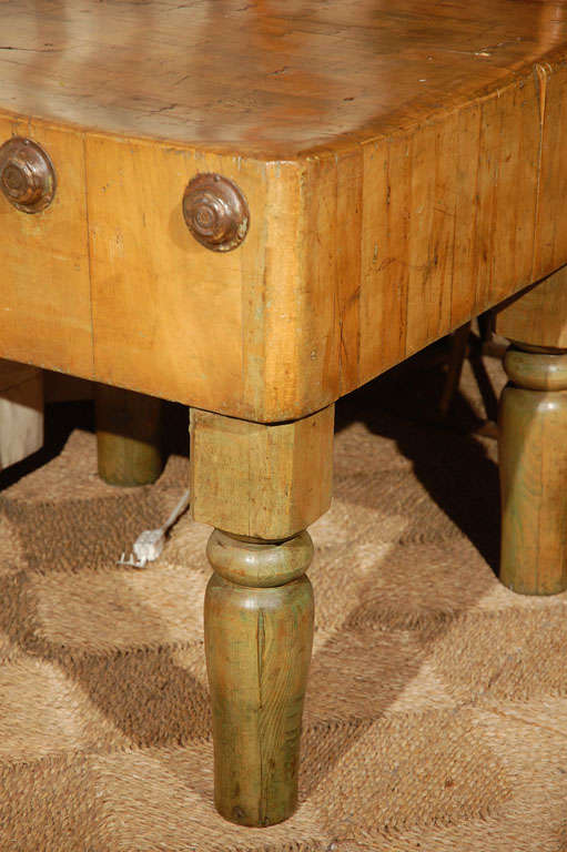 Late 19th Century French Oak Butcher Block Table At 1stdibs