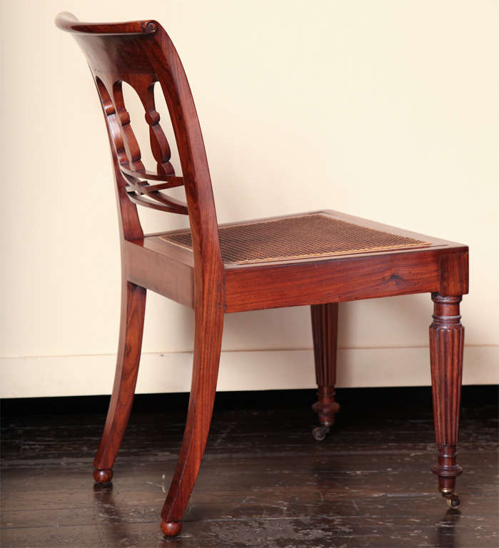 Padouk A 19th century Set of Six Side Plus Two Armchairs For Sale