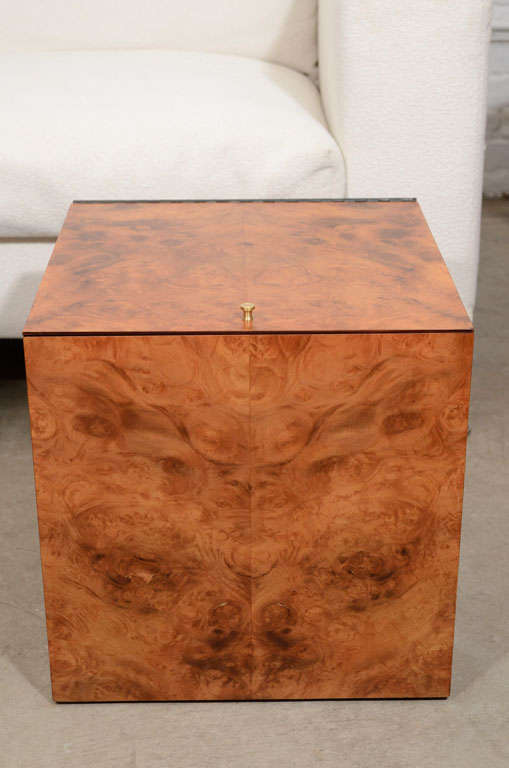 Vintage burled wood record box or side table 2