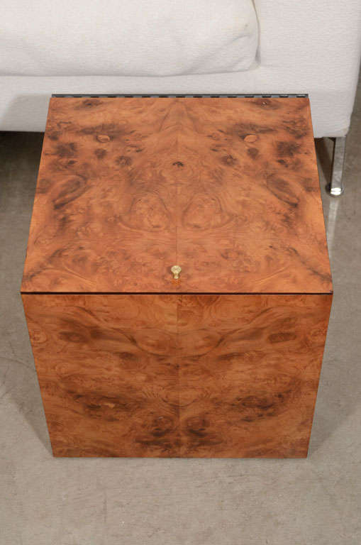 Vintage burled wood record box or side table 4