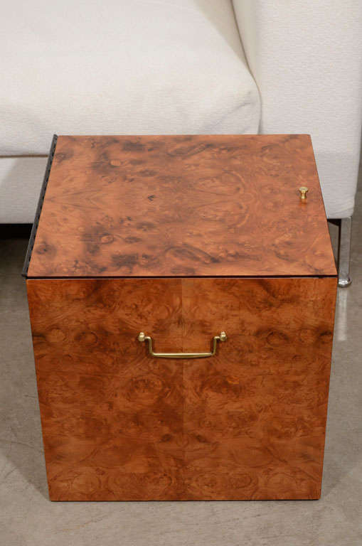 Vintage burled wood record box or side table 7