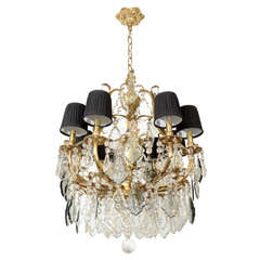 Exquisite Baroque Style Chandelier with Smoked Crystal Accents.