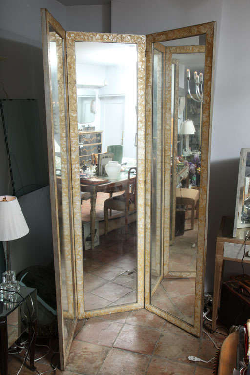 3 Panel Mother of pearl framed mirrored folding screen/divider at ...