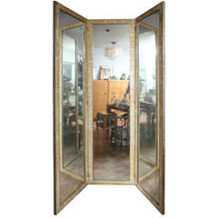 3 Panel Mother of pearl framed mirrored folding screen/divider