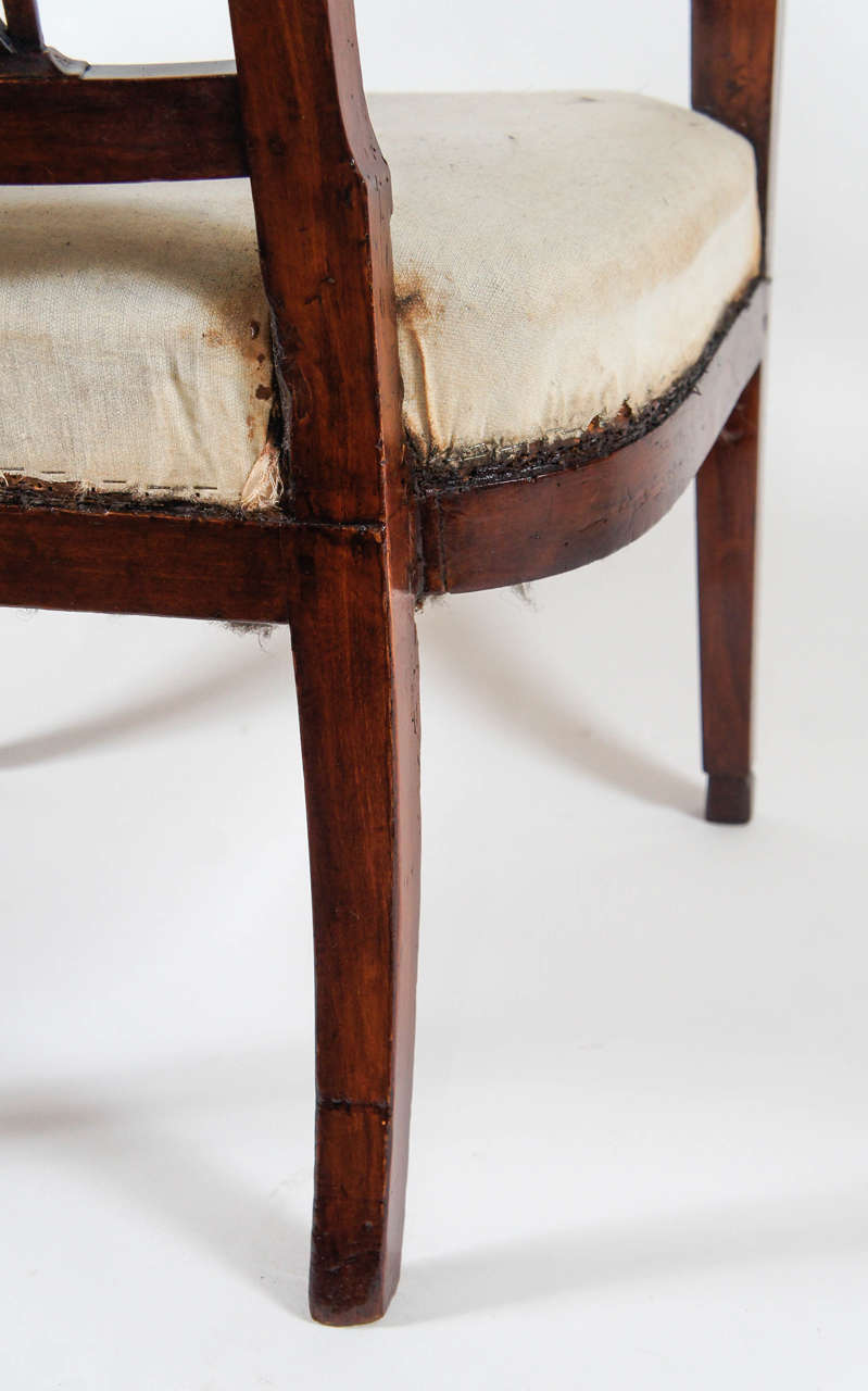 19th Century Neoclassical Consulate Fauteuil or Armchair, Italy, circa 1800 For Sale