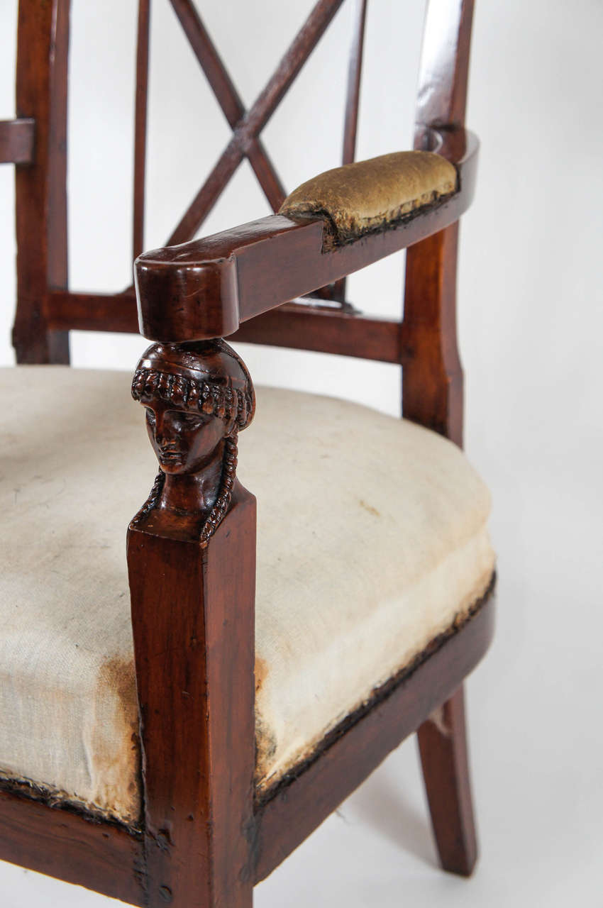 Neoclassical Consulate Fauteuil or Armchair, Italy, circa 1800 For Sale 1