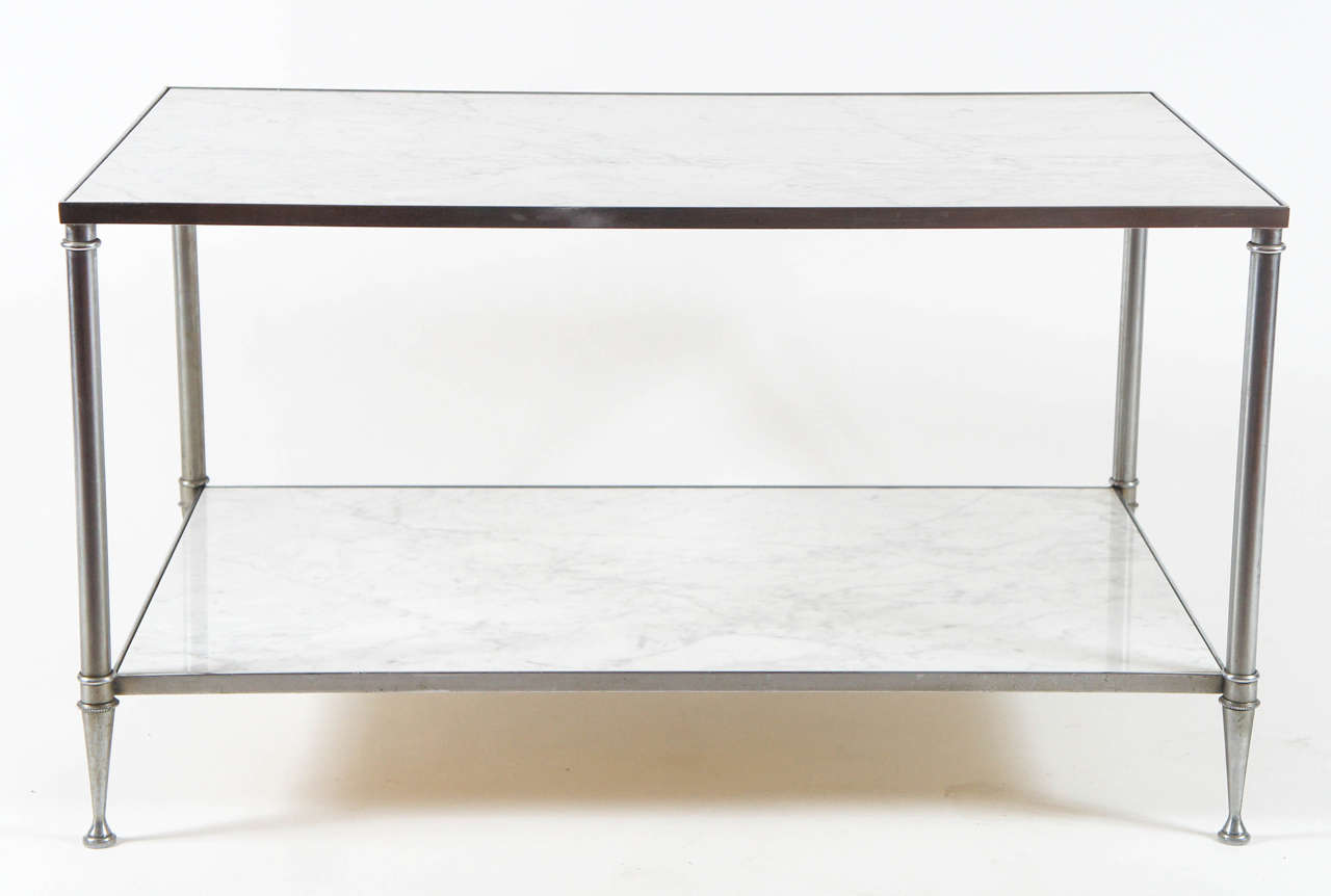 Maison Jansen Two Tier Carrara Marble And Steel Coffee Table For Sale At 1stdibs