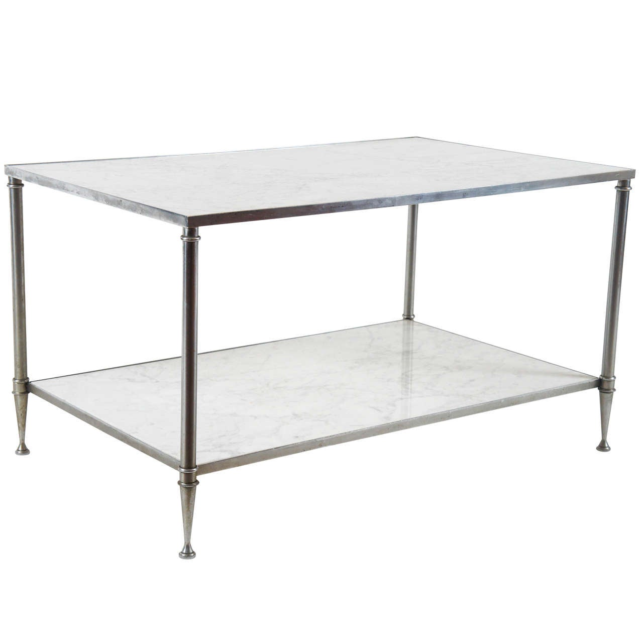 Two Tier Carrara Marble And Steel Coffee Table For Sale At 1stdibs