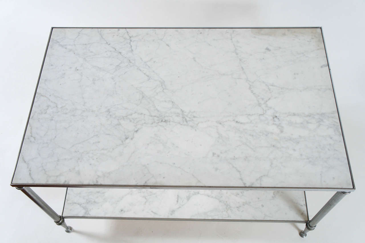 Maison Jansen TwoTier Carrara Marble and Steel Coffee Table For
