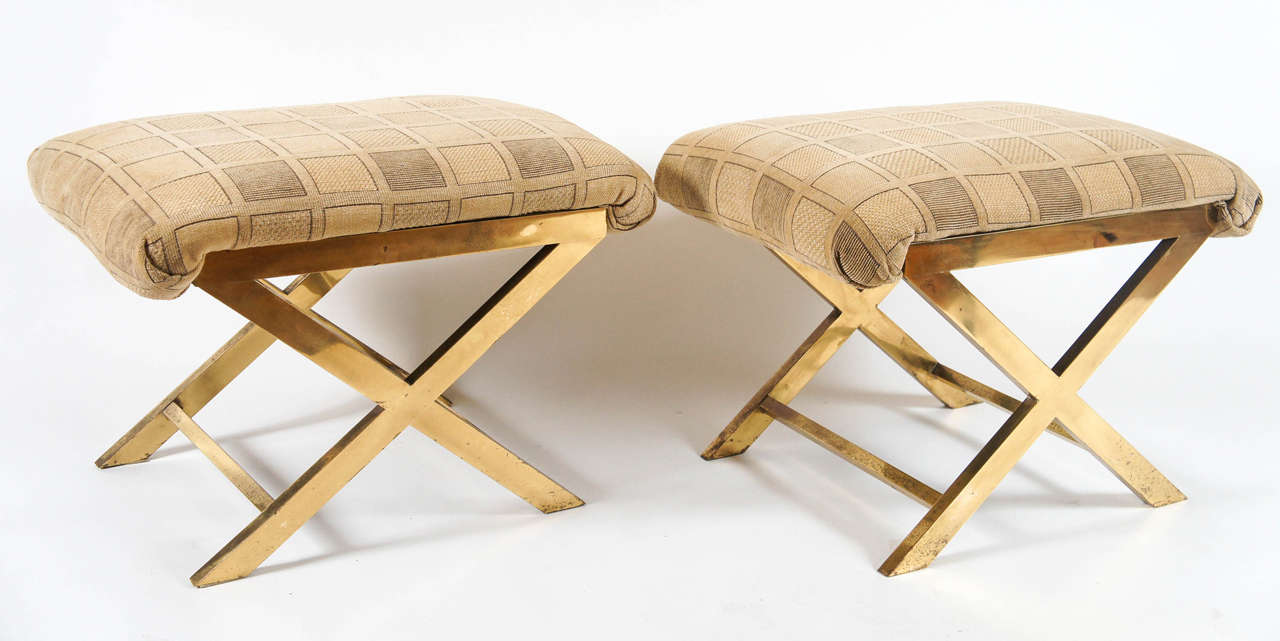 Chic Pair of Vintage Brass X-frame Benches or Stools 2