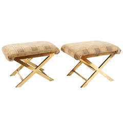 Chic Pair of Vintage Brass X-frame Benches or Stools